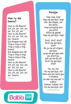 Hier's die woorde van al die ou bekende Afrikaanse rympies en liedjies, in pragtig ontwerpte drukstukke deur Baba & Kleuter! Preschool Songs, Preschool Education, Preschool Printables, Early Education, Preschool Worksheets, Classroom Activities, Activities For Kids, Kids Poems, Baby Songs