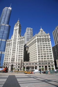 Chicago Skyscrapers. Wrigley Building on Chicago's Michigan Avenue.