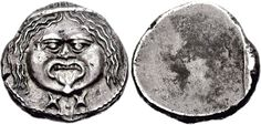 Etruscan coin from Populonia. Italy, Etruria. After 211 BC. AR 20 Asses (8.30 g). Facing Metus wearing diadem; X:X (mark of value) below. From the David Herman Collection.