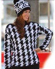 Strickanleitungen für ein Pullover und eine Mütze Ein sportlicher Pullover aus der Linie 20 Cora mit großem Hahnentrittmuster und U-Boot Ausschnitt, dazu eine witzige Mütze aus der Linie 13 Starwool Big mit...