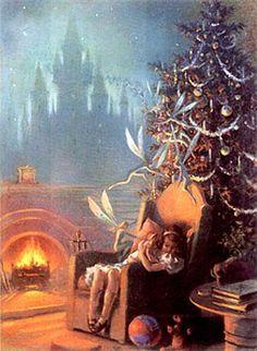 Vintage Christmas-girl & faeries