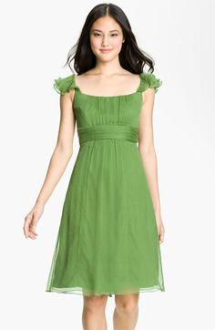 Amsale Ruffle Sleeve Empire Waist Silk Chiffon Dress in Grass