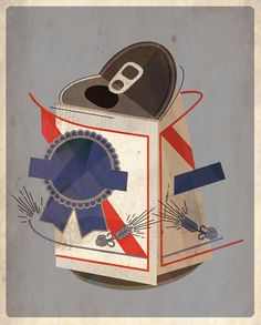 cubist pbr illustration by dave murray Dave Murray, Street Art, Pabst Blue Ribbon, Beer Art, Creative Journal, Layout, Illustration Art, Posters, Graphics