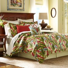 Escape To A Tropical Getaway Every Time You Enter Your Bedroom With The Vibrant Tommy Bahama Anguilla Comforter Set Green Palm Leaf Pattern