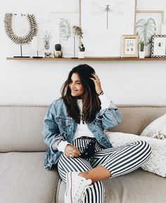 denim jacket + striped pants