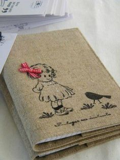 Embroidery with a purpose.a journal cover: how lovely is that? Diy Notebook, Notebook Covers, Journal Covers, Embroidery Patterns, Hand Embroidery, Sewing Crafts, Sewing Projects, Fabric Book Covers, Diary Covers