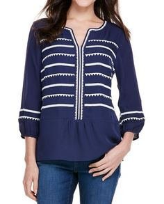 Triangle And Stripe Embroidered Silk Blouse