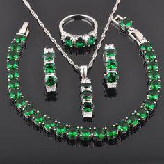 Fahoyo Fashion Green Emerald Topaz 925 Sterling Silver Women Jewelry Sets Qs0156