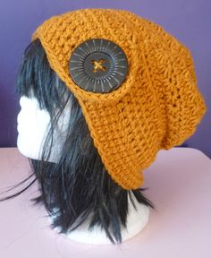 crochet hat, ladies hat, gold hat, womans hat, knitted hat, wooly hat, winter hat, big button hat, adult hat, ladies crochet hat by UniquelySam on Etsy
