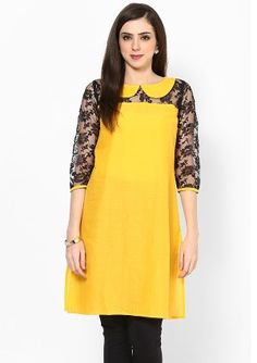bow neck style yellow and black kurti