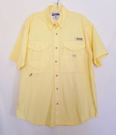 Mens Columbia PFG Shirt Performance Fishing Gear Size S Vented Yellow #Columbia #ButtonFront