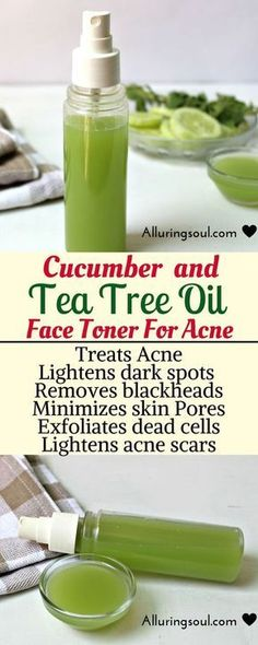 Cucumber and tea tree face toner soothes skin, helps you to get rid of hateful acne and pimples.