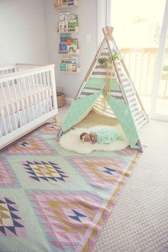 Project Nursery - Teepee in Boho Nursery for Baby Girl