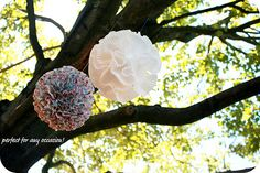 foam ball, hot glue, cupcake liners!! LOVE THIS!