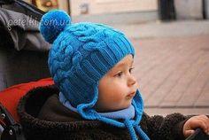 Детская шапка-ушанка с косами. Как вязать