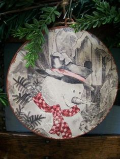 NWT-6-Rustic-Frosty-the-SNOWMAN-Bird-Snow-Metal-CHRISTMAS-Disc-Disk-Ornament-A
