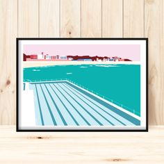 Original digital illustration of the iconic Icebergs swimming pool at Bondi Beach, Australia.