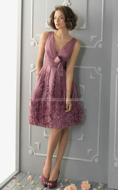 Stunning Purple V-Neck A Line Evening Dress(JT4E-0834)
