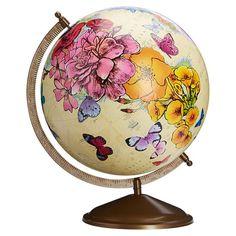 Wonderful World Globe, Flowers and Butterflies