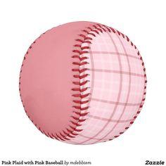 Pink Plaid with Pink Baseball