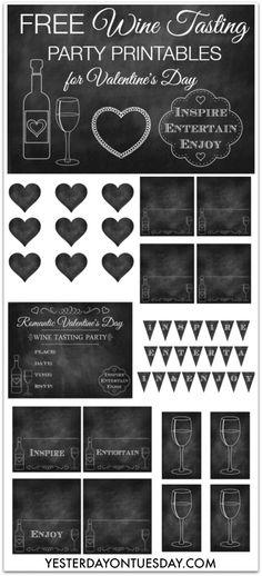 Free set of Wine Tasting Party Printables #winetasting #chalkboard