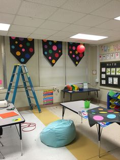 Don't have any curtains in your classroom? Try this idea. Use colored butcher paper to create a valance design. Cut out circles or design and hot glue them on. Hot glue the curtains to the top of the blinds and you're done! Note: the circles were cut out using a Cricut machine.