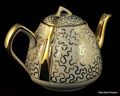 Porcelain White and Gold Trimmed Teapot by TeaAndHoneyVintage, $17.00