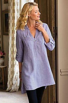 Breezy Tunic - Womens Linen Tunic, Womens Linen Top | Soft Surroundings