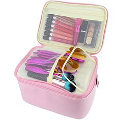 Travelmall 2 layer Large Capacity Cosmetic Makeup Brush organizer with Belt Strap Holder Multifunctional makeup Bag for Travel Home pink. For product & price info go to:  https://beautyworld.today/products/travelmall-2-layer-large-capacity-cosmetic-makeup-brush-organizer-with-belt-strap-holder-multifunctional-makeup-bag-for-travel-home-pink/