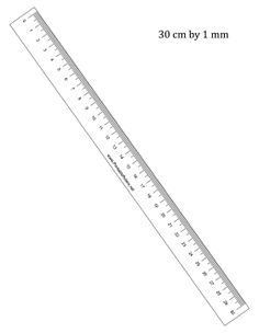 This printable 30 cm ruler has centimeter and millimeter divisions. Free to download and print