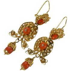 Antique Mexican Oaxaca Gold and Coral Earrings - Mexico   c.1930's