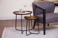 Copper and Brass Set of 2 Tables…