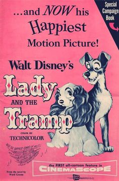 """vintage """"lady and the tramp"""" poster c.1955"""