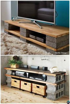 DIY Cinder Block TV Stand Console-10 DIY Concrete Block Furniture Projects                                                                                                                                                      Más