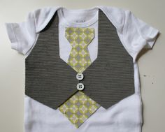 Grey Vest with Yellow Tie Great for a by EllesBlossomBoutique
