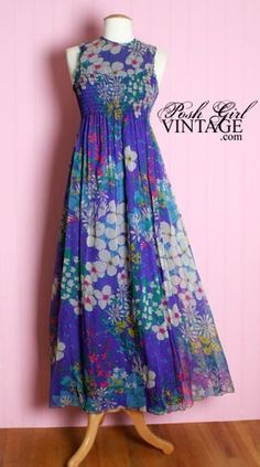 1960's Giorgio Long Floral Dress $357.99 Vintage Dresses