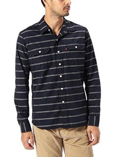 Levi's Mens Navy Striped Classic Flap Pocket Chest Casual Shirt Size Small