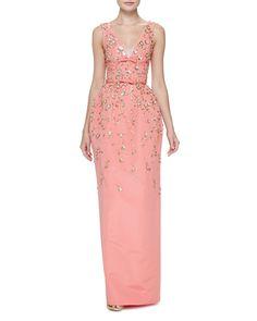 Carolina Herrera Floral-Embellished Sleeveless V-Neck Gown, Shell Pink
