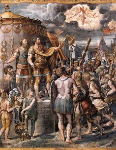 POLIDORO da CARAVAGGIO (Polidoro da Caldara,detto) Caravaggio 1490/1500 ca.Messina 1543 Seguace di Raffaello, si distinse nell'imitare in chiaroscuro e in graffito i bassorilievi antichi. a Roma collaborò alla decorazione delle logge vaticane. Tra le sue opere ricordiamo le scene della vita delle SS. Maria Maddalena e Caterina, 1524-25 (Roma, Silvestro al Quirinale).  Dopo il 1528 fu attivo a Napoli e a Messina #art #oil #history #Polidoro #daVaravaggio
