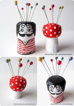 Easy Sewing Craft Idea: Adorable Pin Cushions | Easy Small Wine Cork Crafts by DIY Ready at http://diyready.com/more-wine-cork-crafts-ideas/