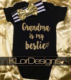 Grandma is my bestie Grandma gift baby girl grandma baby announcement baby girl outfit Grandmas Girl new Grandma Nana Bestie Baby Clothes Daddys Girl, My Baby Girl, Baby Love, Baby Baby, Black Baby Girls, Baby Ruth, 3rd Baby, My Aunt Onesie, Baby Girl Onesie