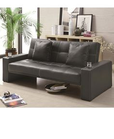 leather futon with cup holders