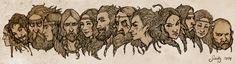 Northern Gods by SceithAilm on deviantARTfrom left to right: Hel, Freyr, Heimdallr, Freyja, Baldr, Sif, Thor, Odin, Loki, Skadi, Njord, Idun, Tyr