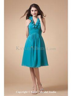 Chiffon V-Neckline Knee-Length A-line Bridesmaid Dress with Ruffle