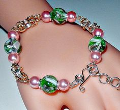 Beaded silver plated byzantine chainmaille bracelet by NezDesigns, $25.00