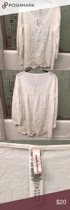 Beautiful crochet cover up 100% cotton cover up. front trim to bottom is 25 inches. Sleeve seam to bottom of sleeve is 22.5 inches. Left to right waist is almost 22 inches Nanette Lepore Swim Coverups