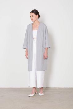 Light Blue Long Kimono Spring Jacket | Front
