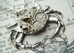 Steampunk Crab Necklace Vintage Watch Movement Antiqued Silver Gothic Victorian Steam Punk Jewelry Rustic Primitive Finish