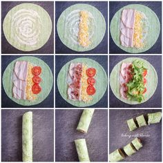 Baking with Blondie : Turkey Club Tortilla Pinwheels.I put turkey, lettuce, green peppers, onions, and ranch dressing on it. They were yummy! Lunch Snacks, Lunch Recipes, Appetizer Recipes, Healthy Snacks, Cooking Recipes, Healthy Recipes, Healthy Lunch Ideas, Vegetarian Recipes, Vegetarian Food