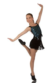 Aqua & Black Sequin Cabaret Dance Costume Jazz/Tap Lots Ready to Ship